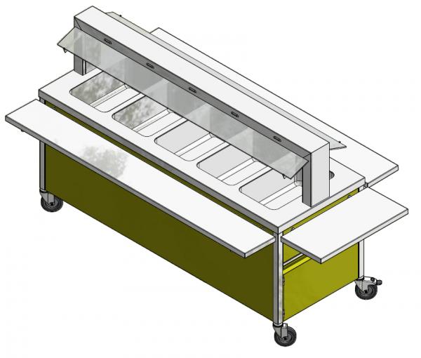 GN 5/1 850 mm - Speisenausgabewagen für Schulspeisung - warm