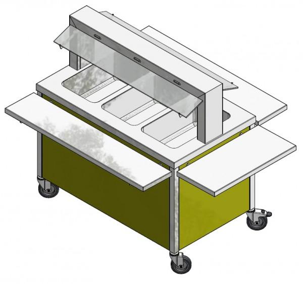GN 3/1 850 mm - Speisenausgabewagen für Schulspeisung - warm