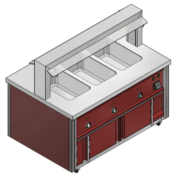 GN 3/1 750 mm - Speisenausgabewagen für Kindergarten - warm
