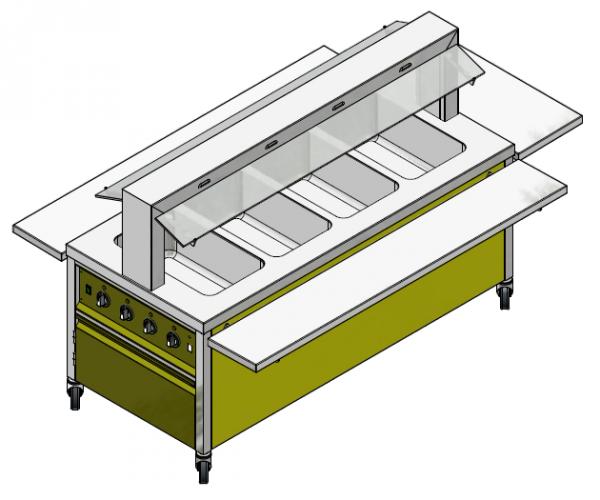 GN 4/1 750 mm - Speisenausgabewagen für Schulspeisung - warm