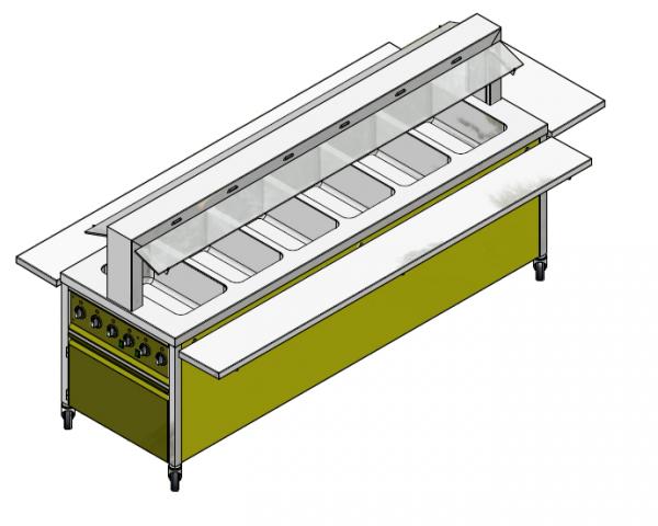 GN 6/1 850 mm - Speisenausgabewagen für Schulspeisung - warm