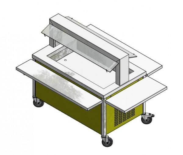 GN 3/1 850 mm - Speisenausgabewagen für Schulspeisung - kalt