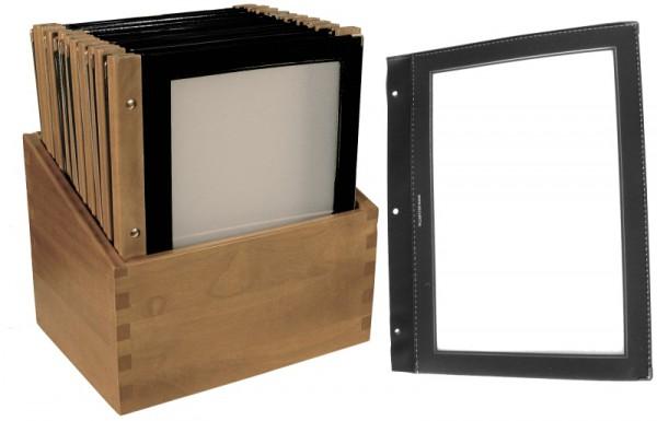 Speisekartenmappe Holz schwarz Kasten mit 20 Karten