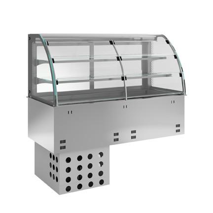 Einbaukühlvitrine - kundenseitig Entnahmeklappen - 2 Ablagen