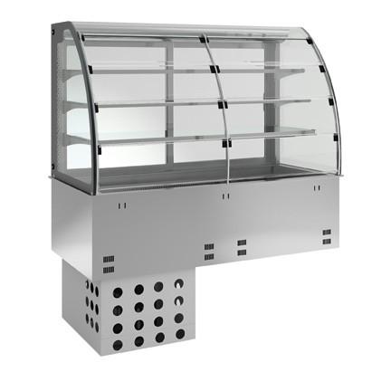 Einbaukühlvitrine - kundenseitig Entnahmeklappen - 3 Ablagen