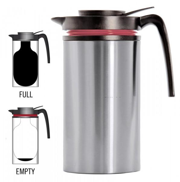 Kaffeeservierkannen, isolierte Isolierkanne 1 l mit Indikator