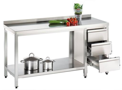 Arbeitstisch mit Grundboden und Schubladenblock, Serie Variabel, AISI 304
