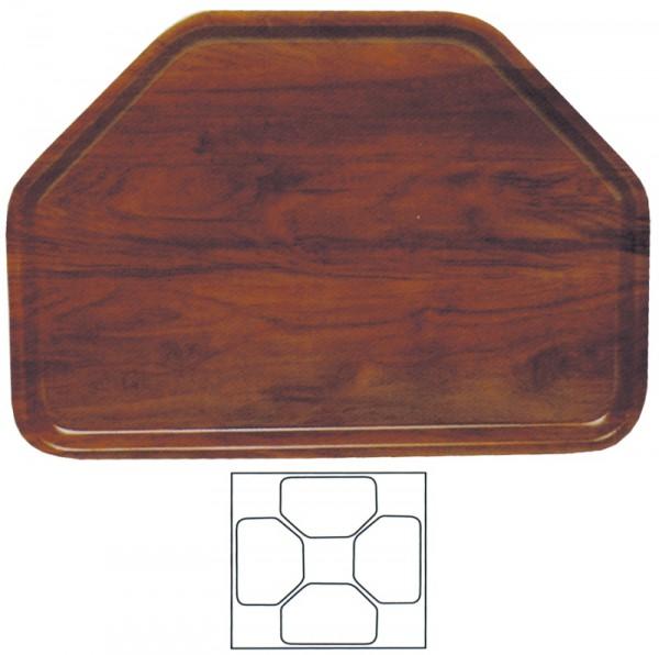Tablett, sechseckig 32 x 47 cm, Nußbaum Dekor