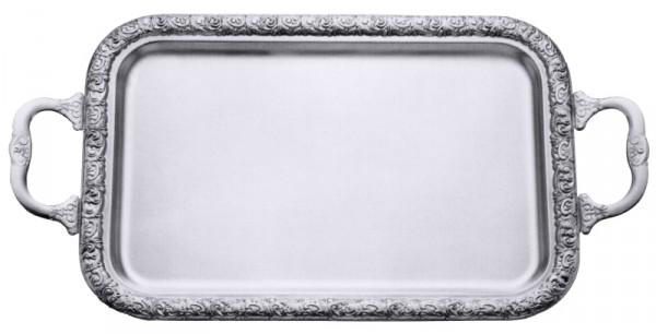 Tablett rechteckig 43 x 30 cm mit Griffen u. verziertem Rand
