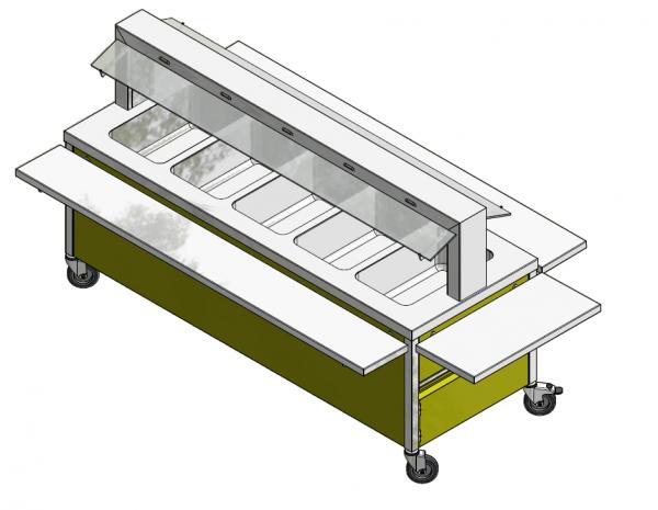 GN 5/1 750 mm - Speisenausgabewagen für Schulspeisung - warm