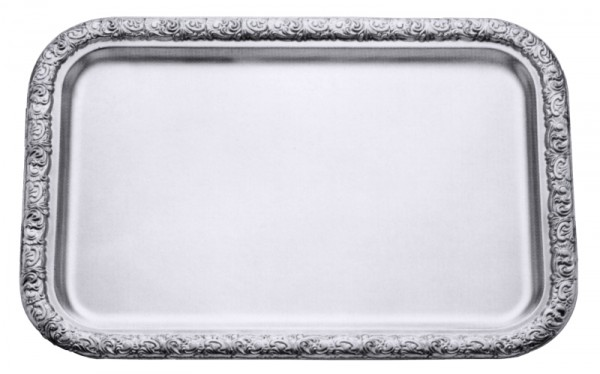 Tablett rechteckig 48 x 33 cm mit verziertem Rand