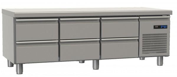 Snackkühltisch mit 6 Schubladen und Arbeitsplatte - L