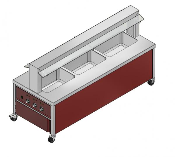 GN 3/1 600 mm - Speisenausgabewagen für Kindergarten - warm