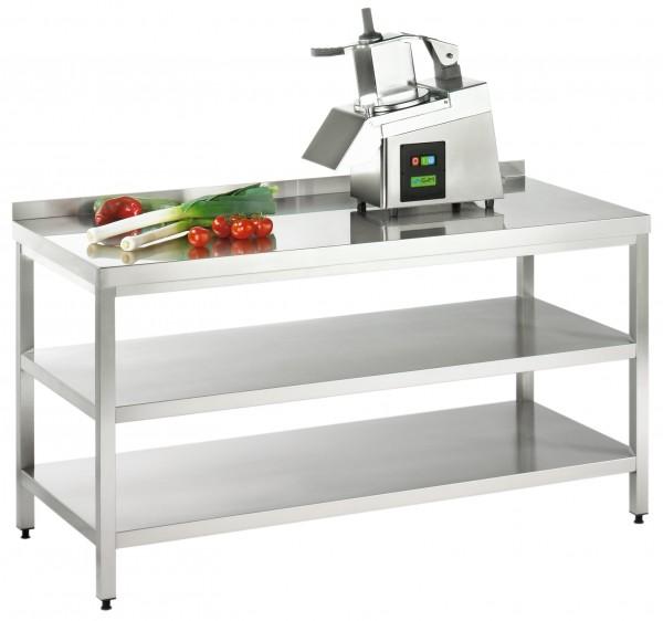 Arbeitstisch mit Grund- und Zwischenboden, Serie Variabel, AISI 304