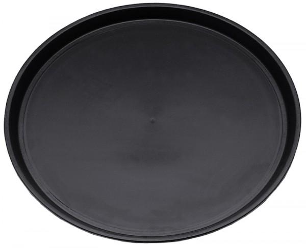 Tablett, Glasfaser Polyester rund,schwarz,rutschfest 36 cm