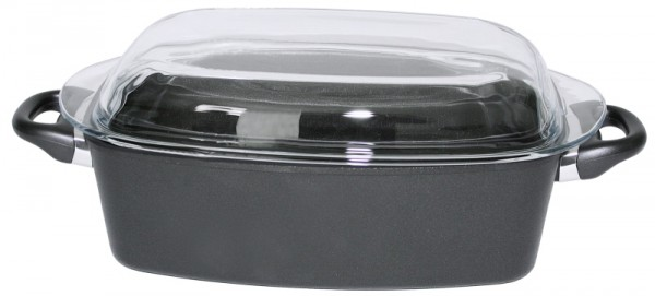 Bräter aus Aluminiumguss 33 x 21 x 11cm, mit Glasdeckel