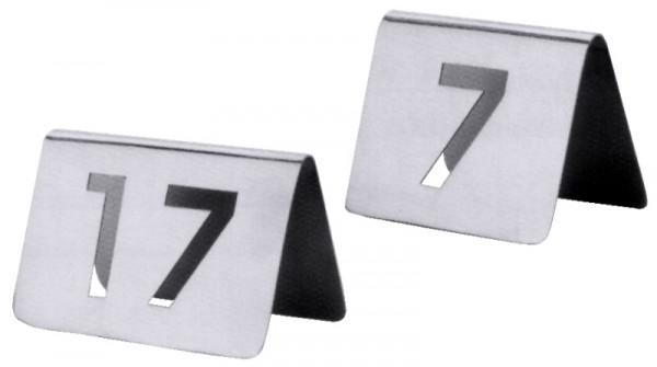 Tischnummernschild mit Nummern von 61 bis 72