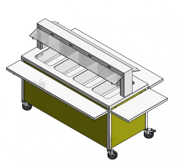 GN 4/1 850 mm - Speisenausgabewagen für Schulspeisung - warm