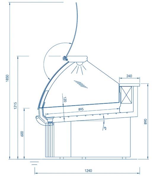 Fischkühltheke Sentosa 938-ST statische Kühlung und berohrte Wanne für Frischfischpräsentation auf E