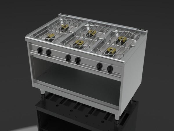gasherd 6 flammen vorn offen serie thermik 750 eku. Black Bedroom Furniture Sets. Home Design Ideas