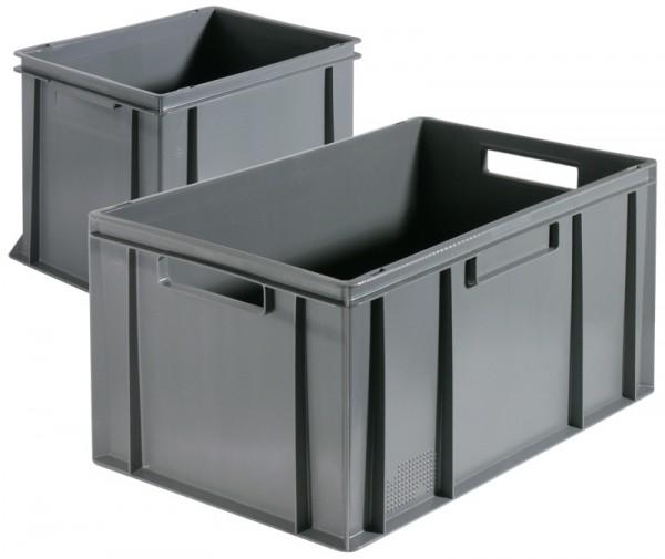 Stapel-Transportkasten, flach 60 x 40 x 21,5 cm, grau