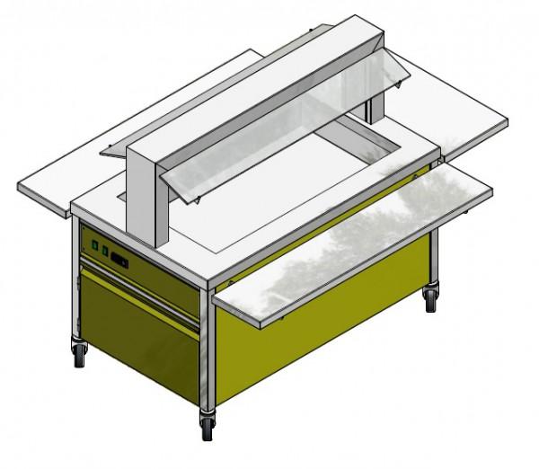 GN 2/1 750 mm - Speisenausgabewagen für Schulspeisung - kalt