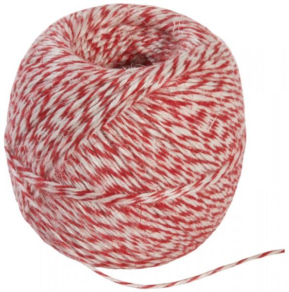 Wurstgarn 200g, weiß-weiß-rot