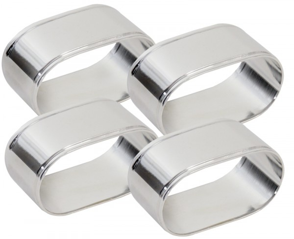 Serviettenring, versilbert, ovale Form, Set a 4 Stück