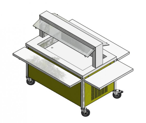 GN 4/1 750 mm - Speisenausgabewagen für Schulspeisung - kalt
