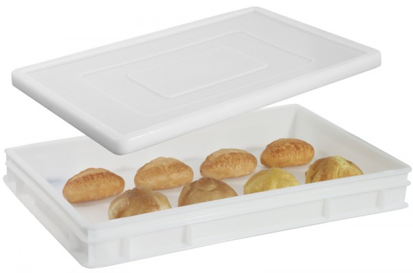 Pizzaballenbehälter, weiß Polyethylen, 60 x 40 x 7,5 cm