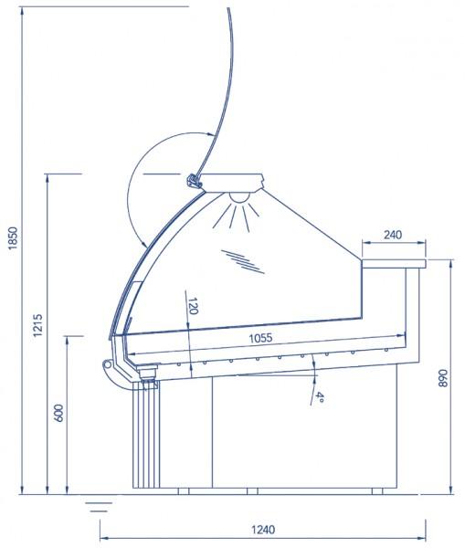 Fischkühltheke Sentosa 1250 berohrte Kühlwanne für Frischfischpräsentation auf Eis, gebogene Hebever
